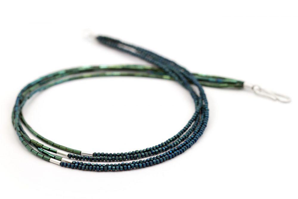 Hämatinkette mehrreihig blaugrün