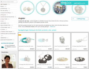 Screenshot Onlineshop DaWanda ringlein