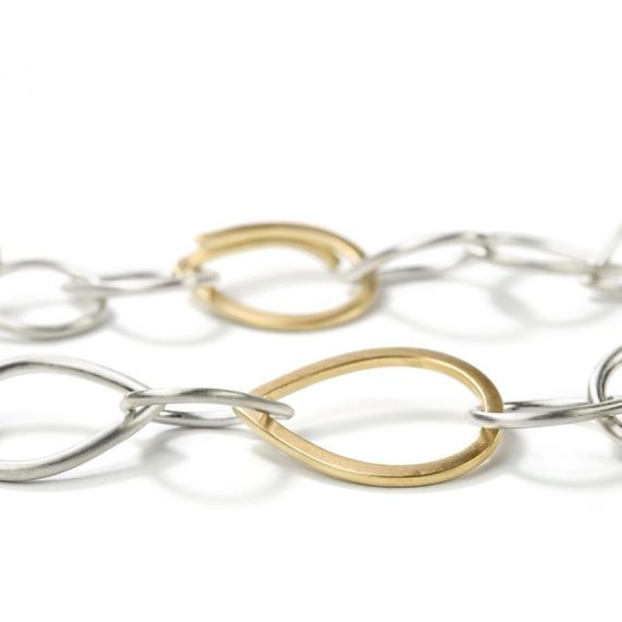 Ösenkette Silber und Gelbgole