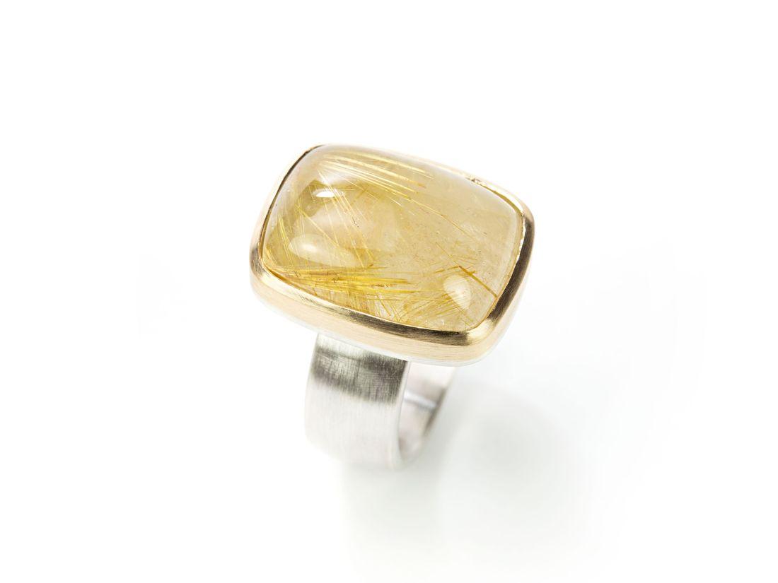 Damenring Silber Gold mit großem Rutilquarz