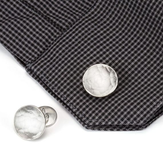 runde Doppel-Manschettenknöpfe Silber