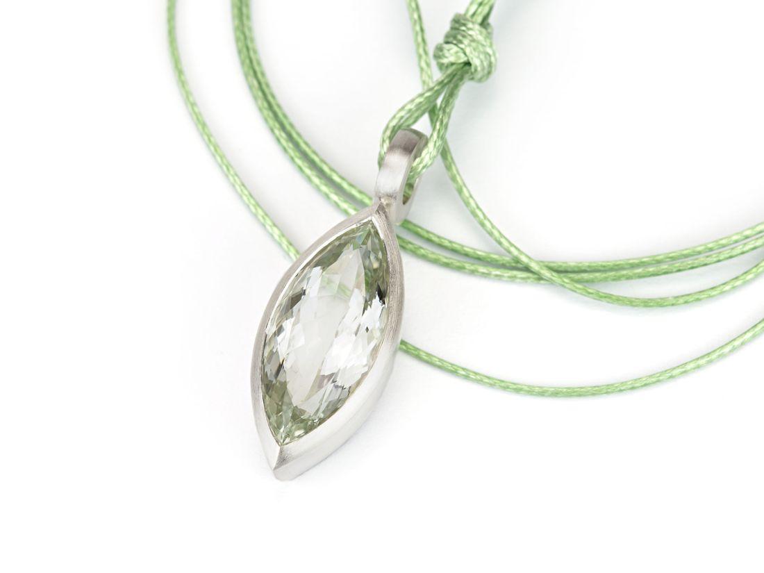 Anhänger Silber lauchgrüner Prasiolith