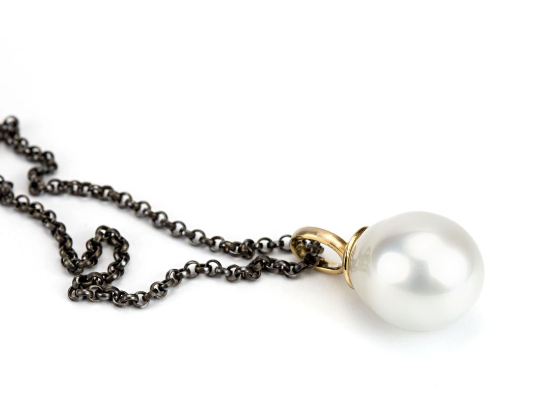 Perlanhänger Gold geschwärzte Silberkette
