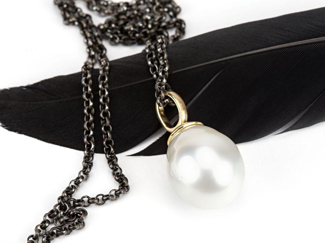 Anhänger weiße Perle Gold
