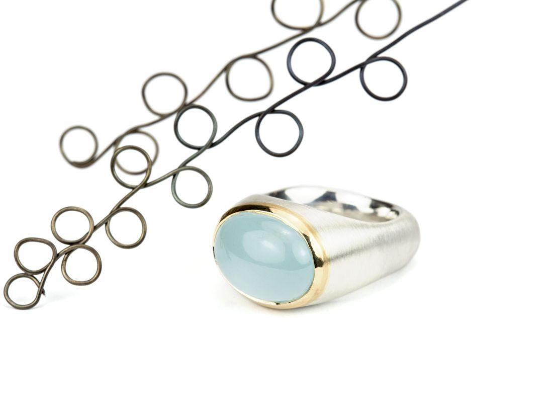 Aquamarinring Silber Gold