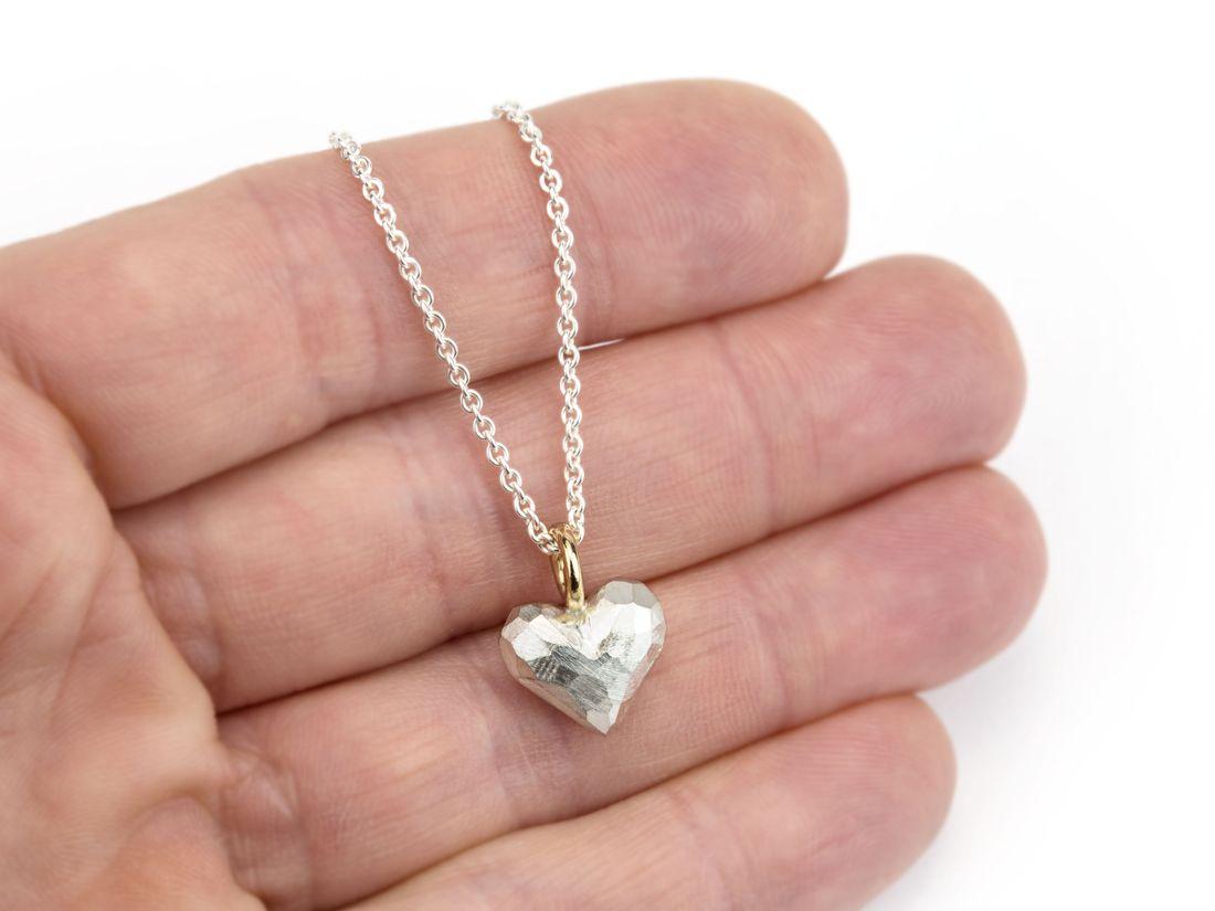 Silberanhänger Herz mit Goldöse