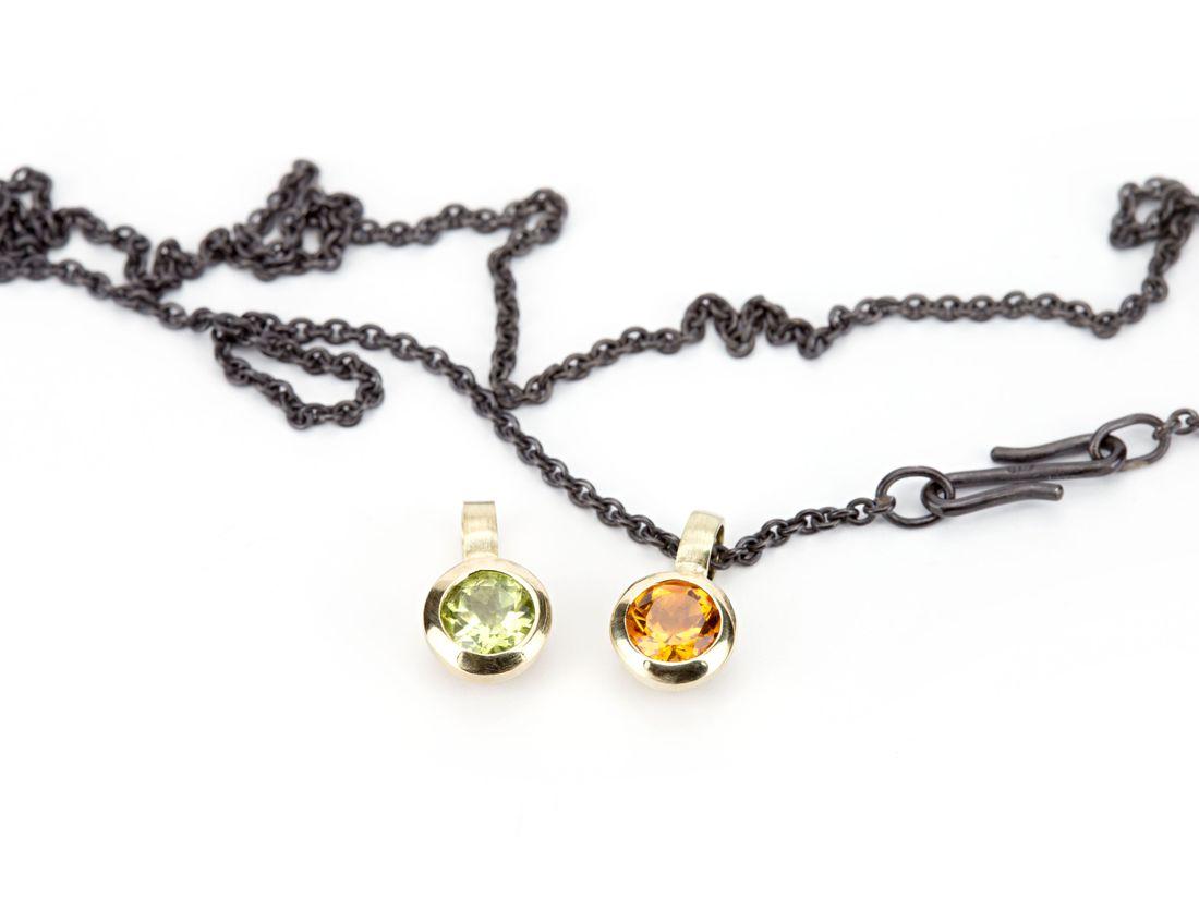 kleine Anhänger Gold mit Citrin oder Peridot